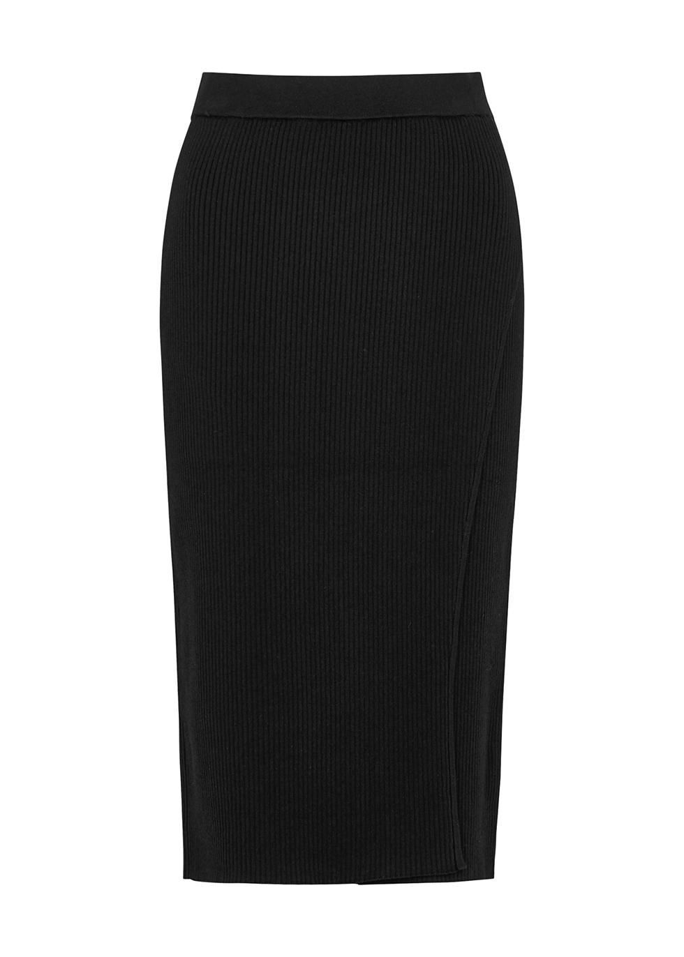 Black ribbed-knit midi skirt
