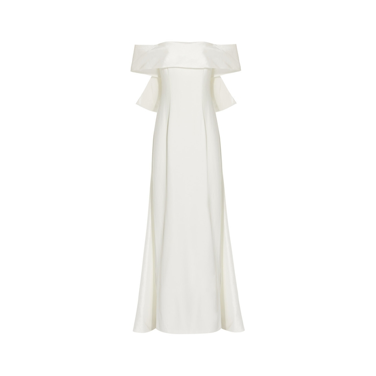 Adrianna Papell CREPE TAFFETA BOW GOWN