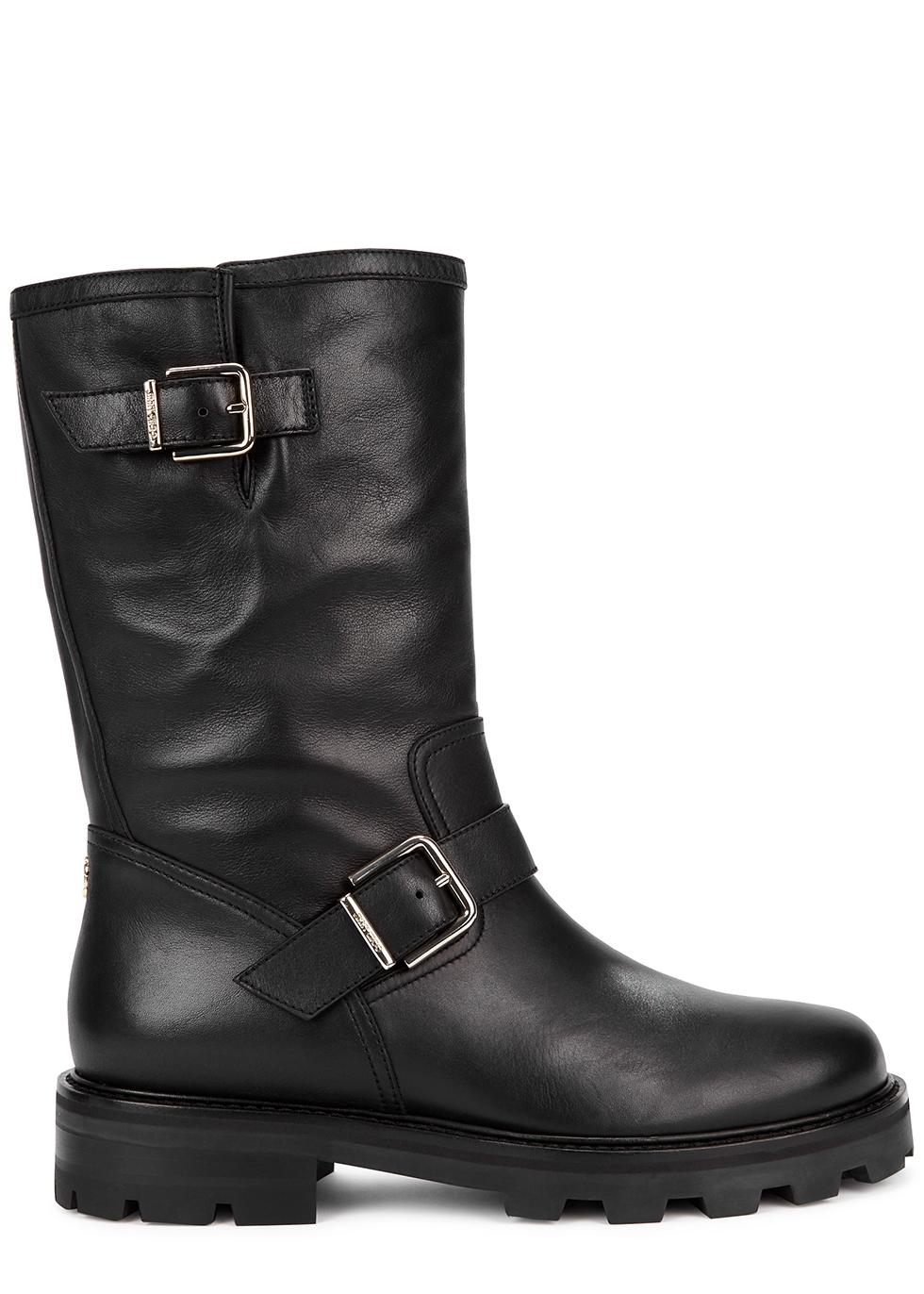 Biker II black leather ankle boots