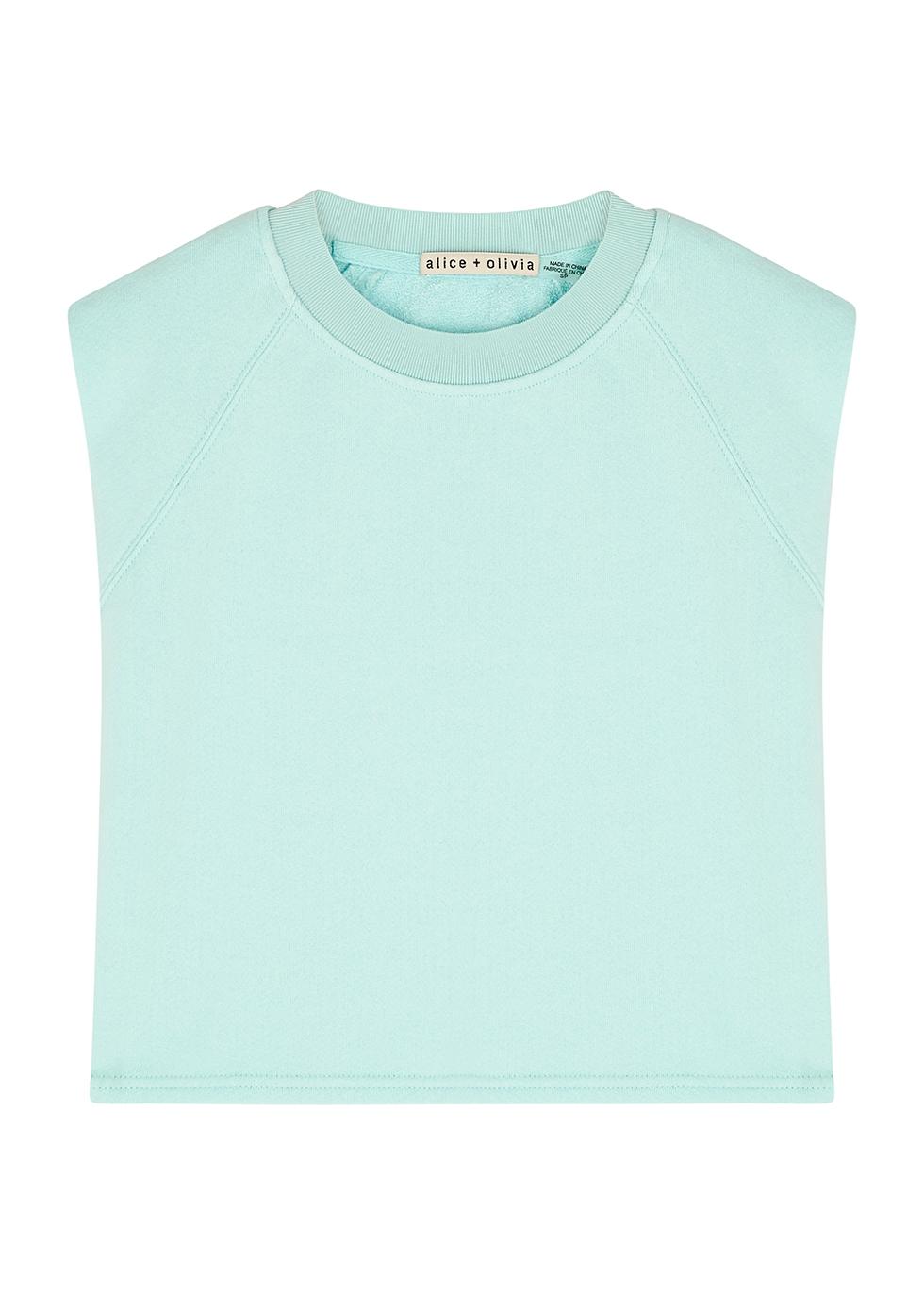 Braxton light blue cropped jersey top