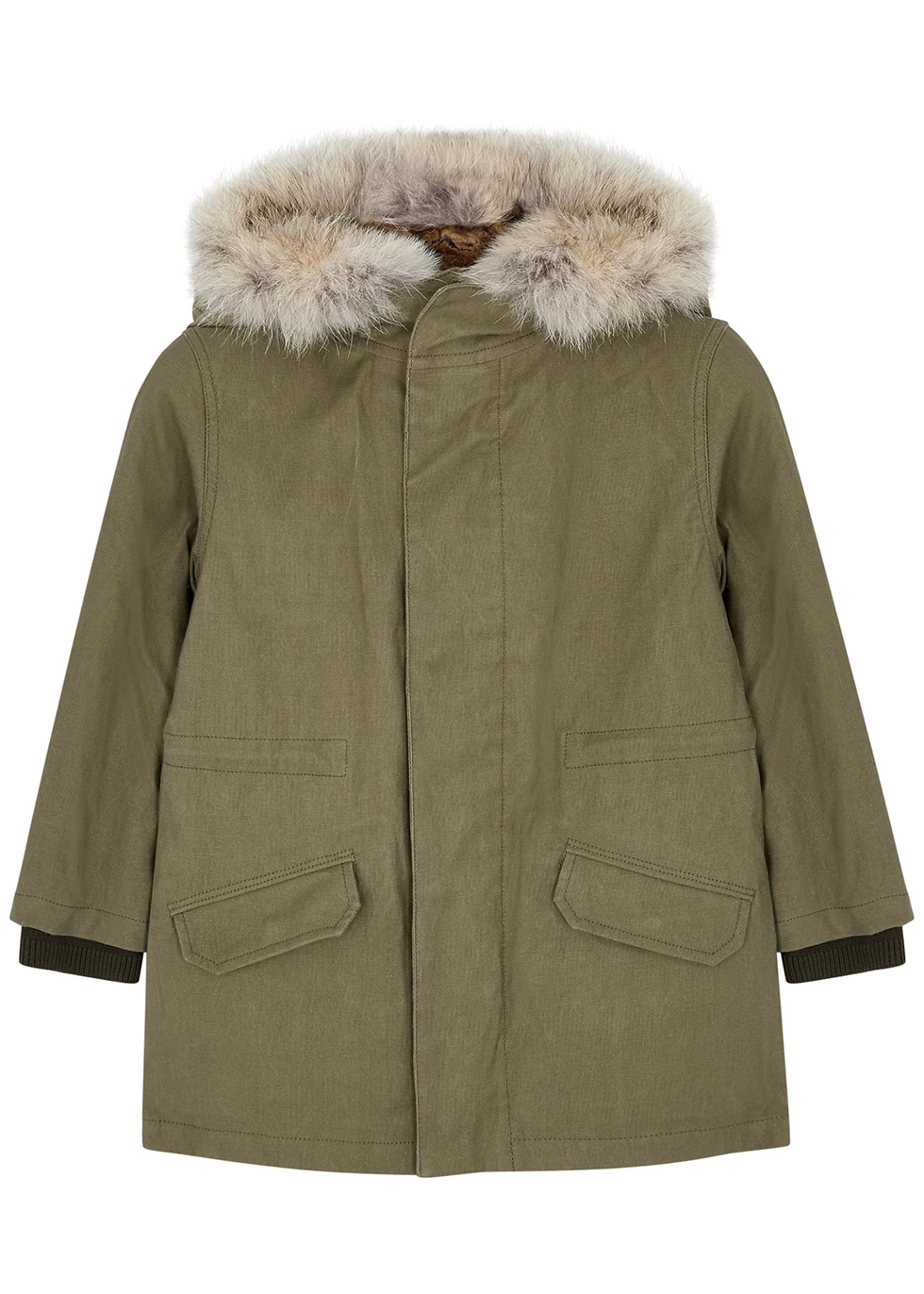 Army green fur-trimmed cotton coat (4-6 years)