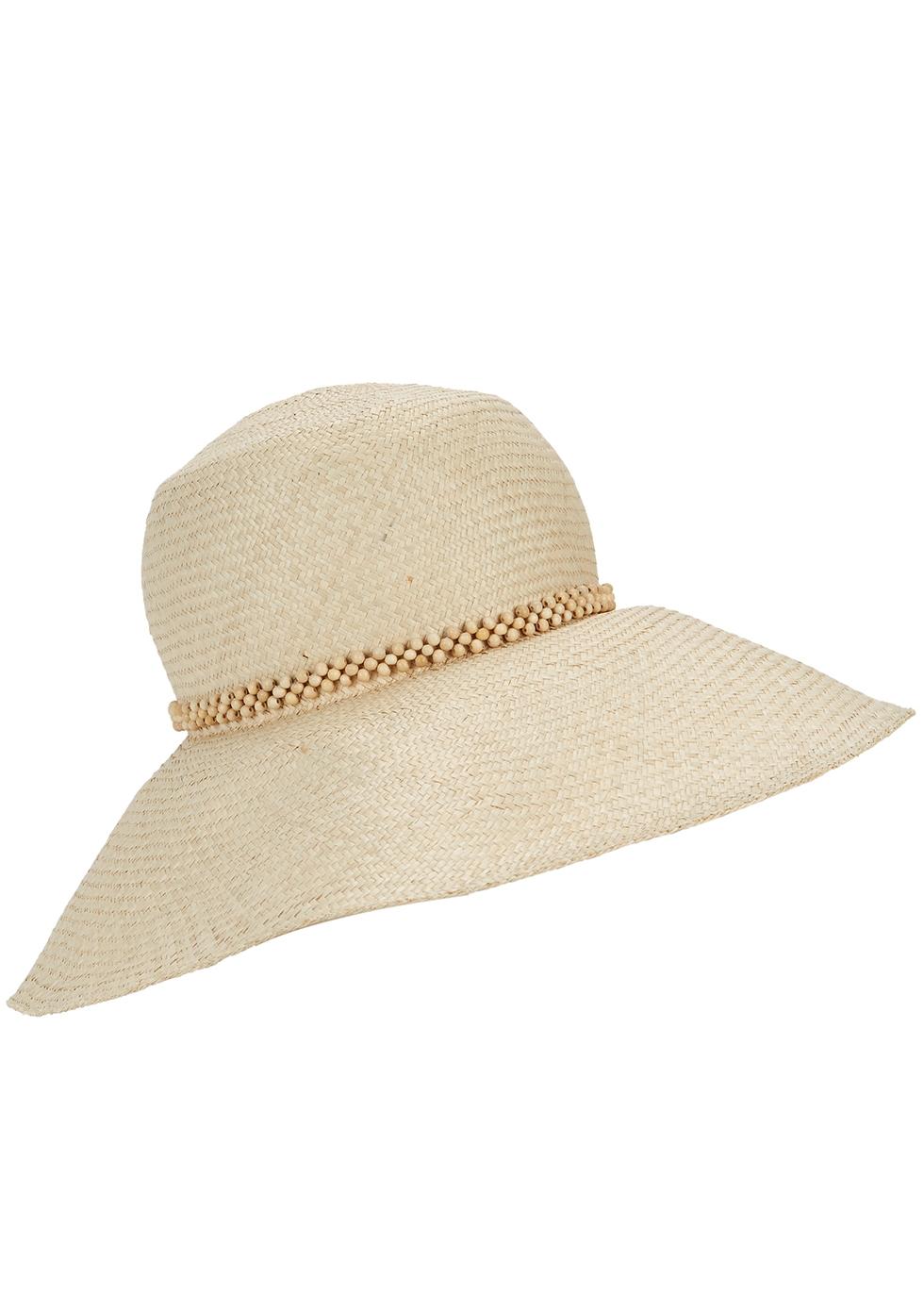 Sand woven straw wide-brim hat