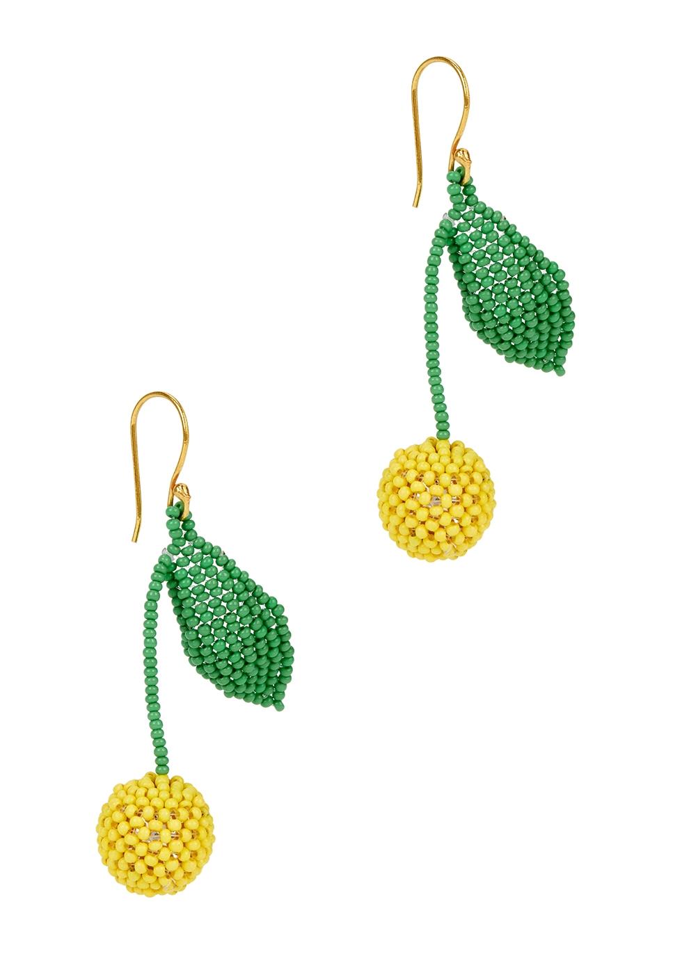 Limón beaded drop earrings