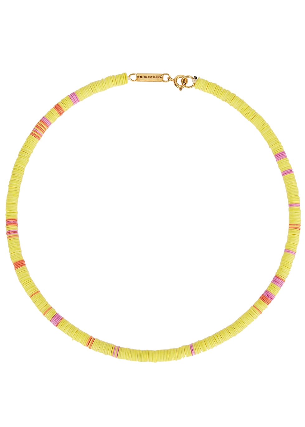 Pukas yellow beaded necklace