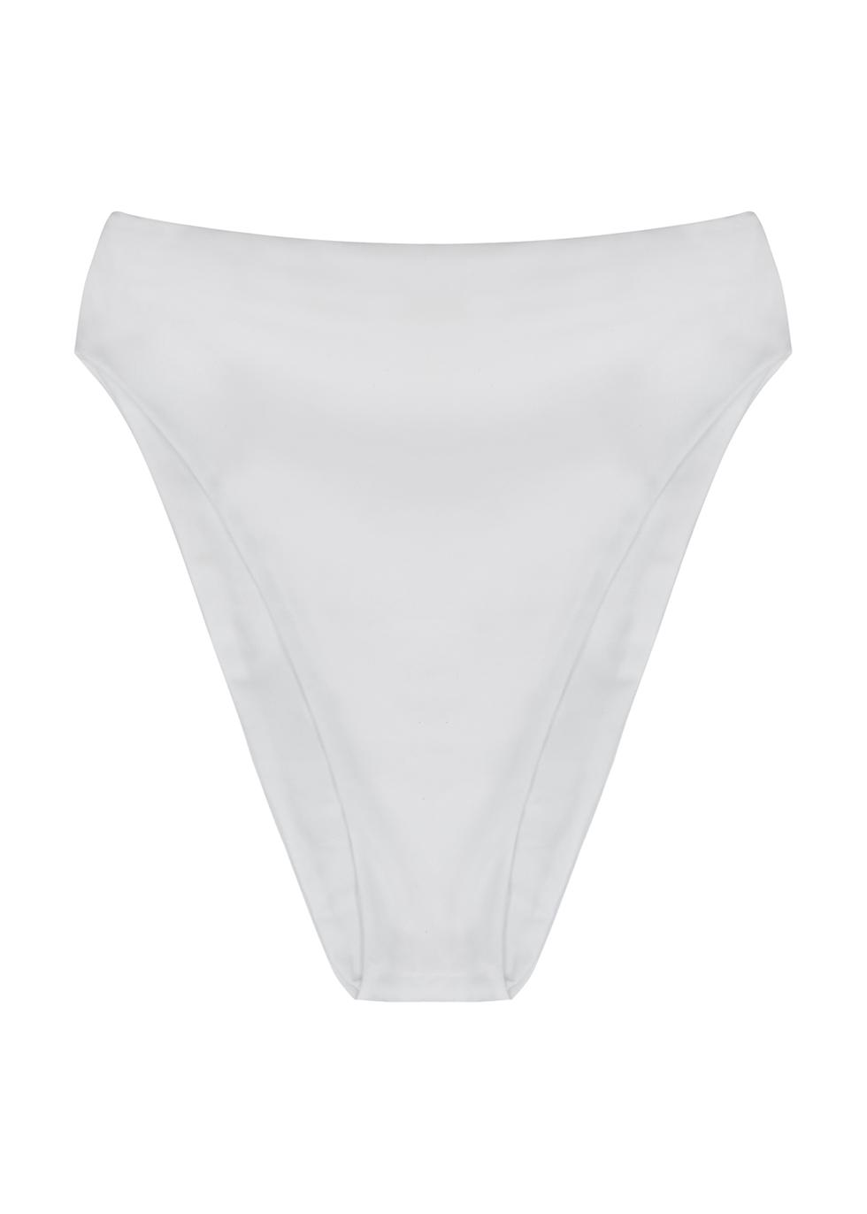 Incline white high-rise bikini briefs