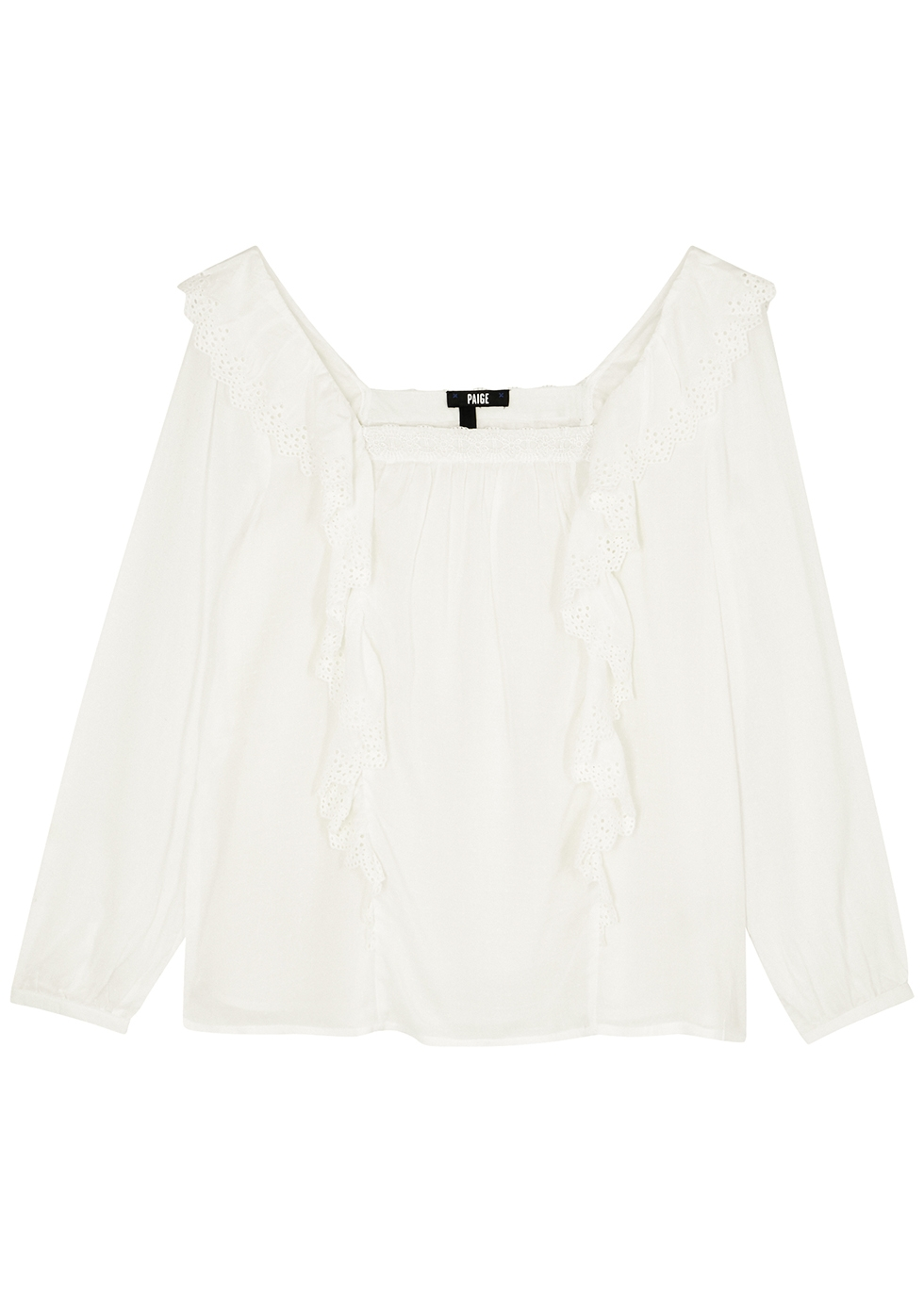 Brylen white ruffle-trimmed blouse