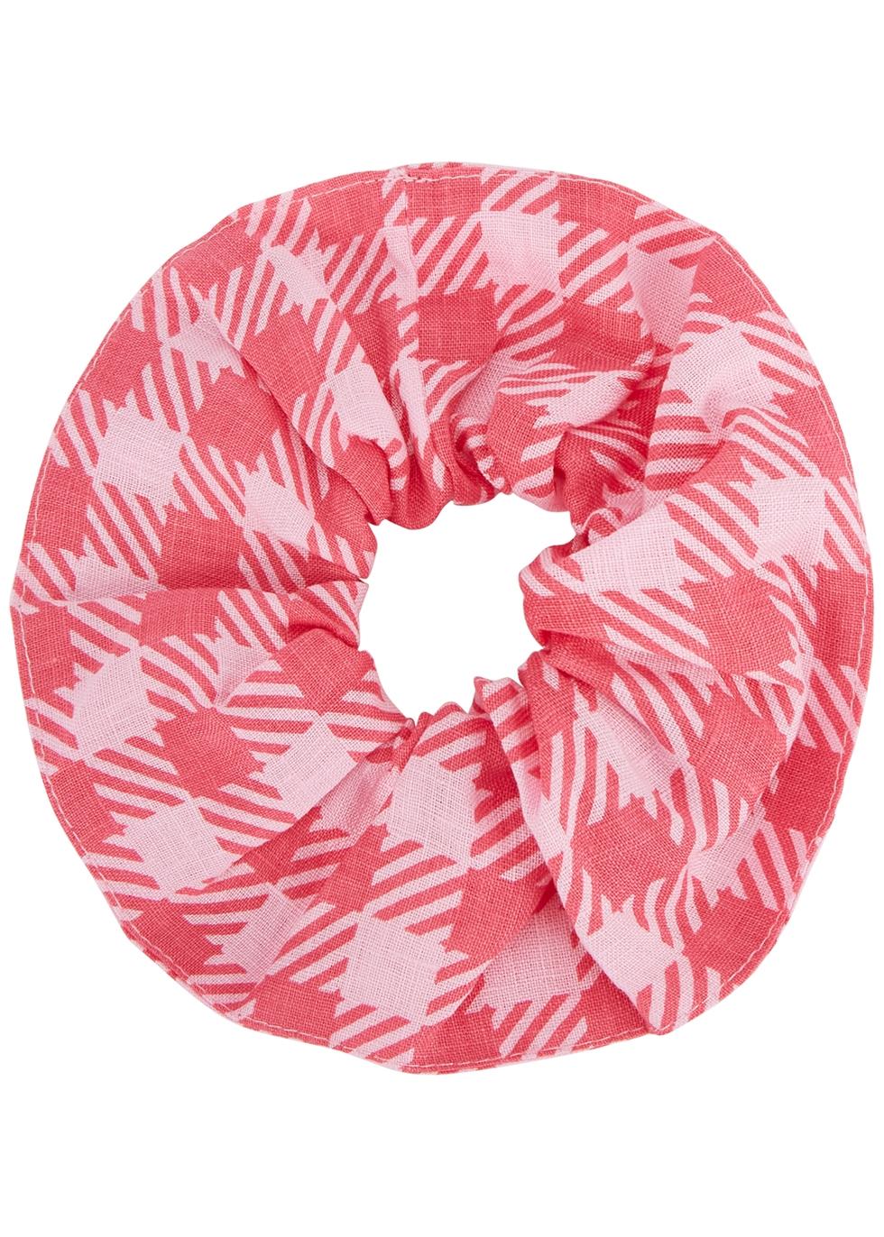 Pink gingham linen scrunchie