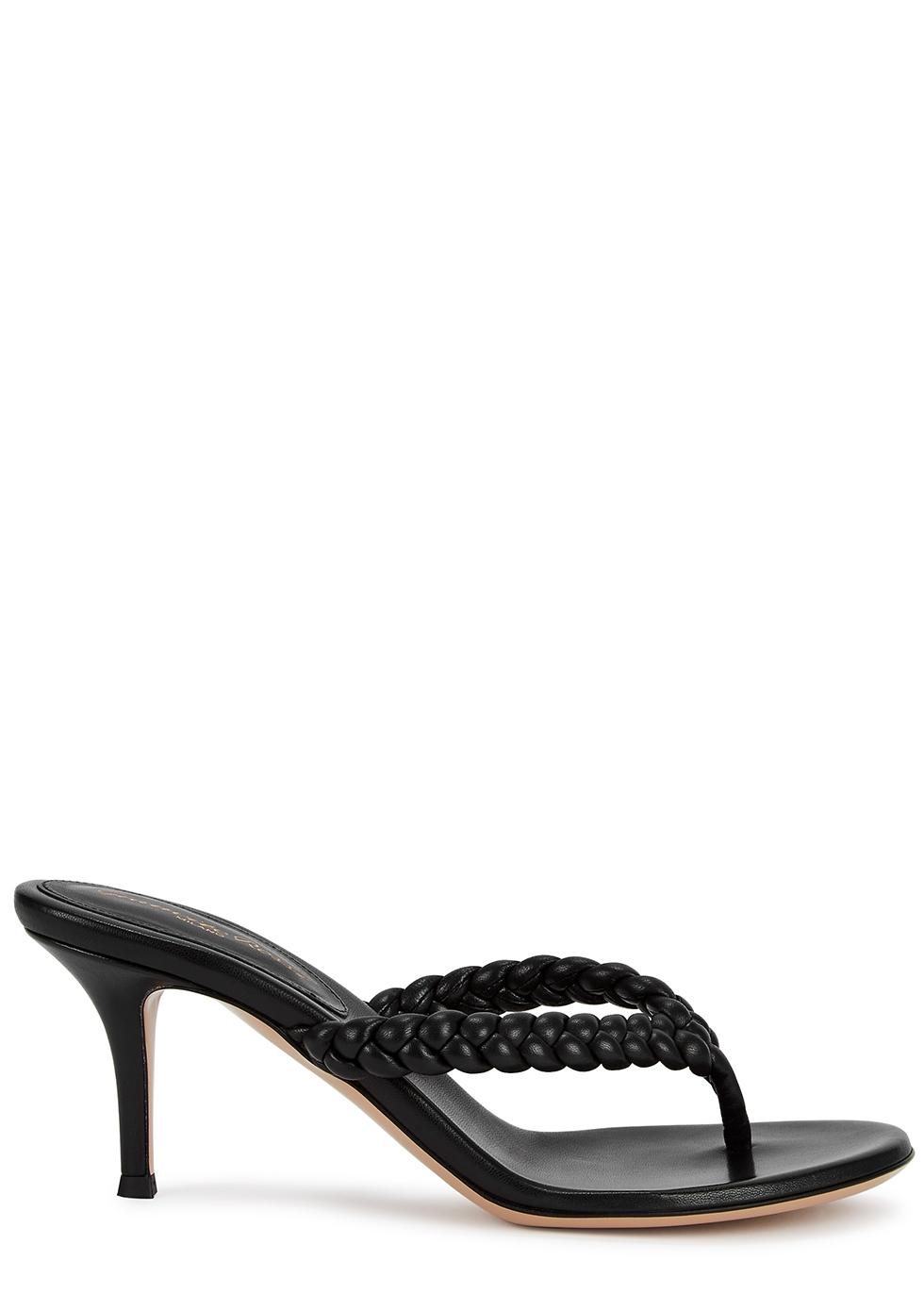 Tropea 70 black leather sandals