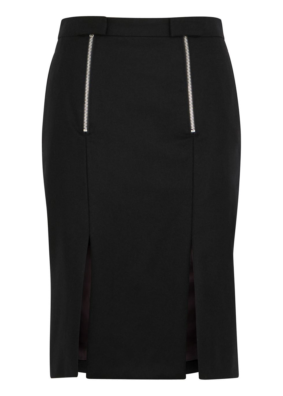 Black brushed wool pencil skirt