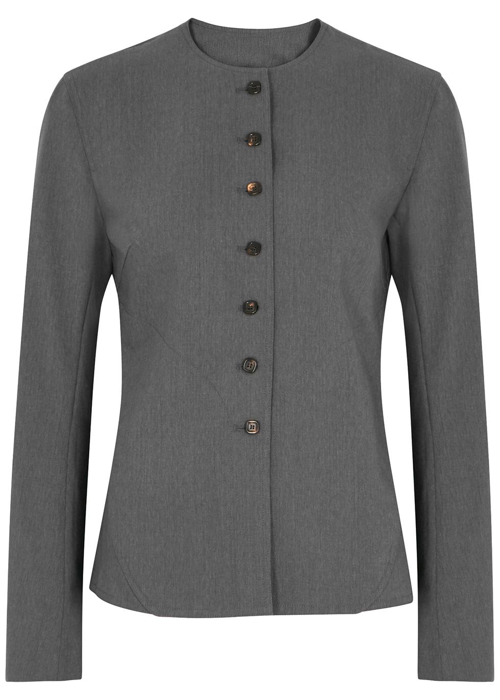 Hybrid dark grey wool-blend jacket