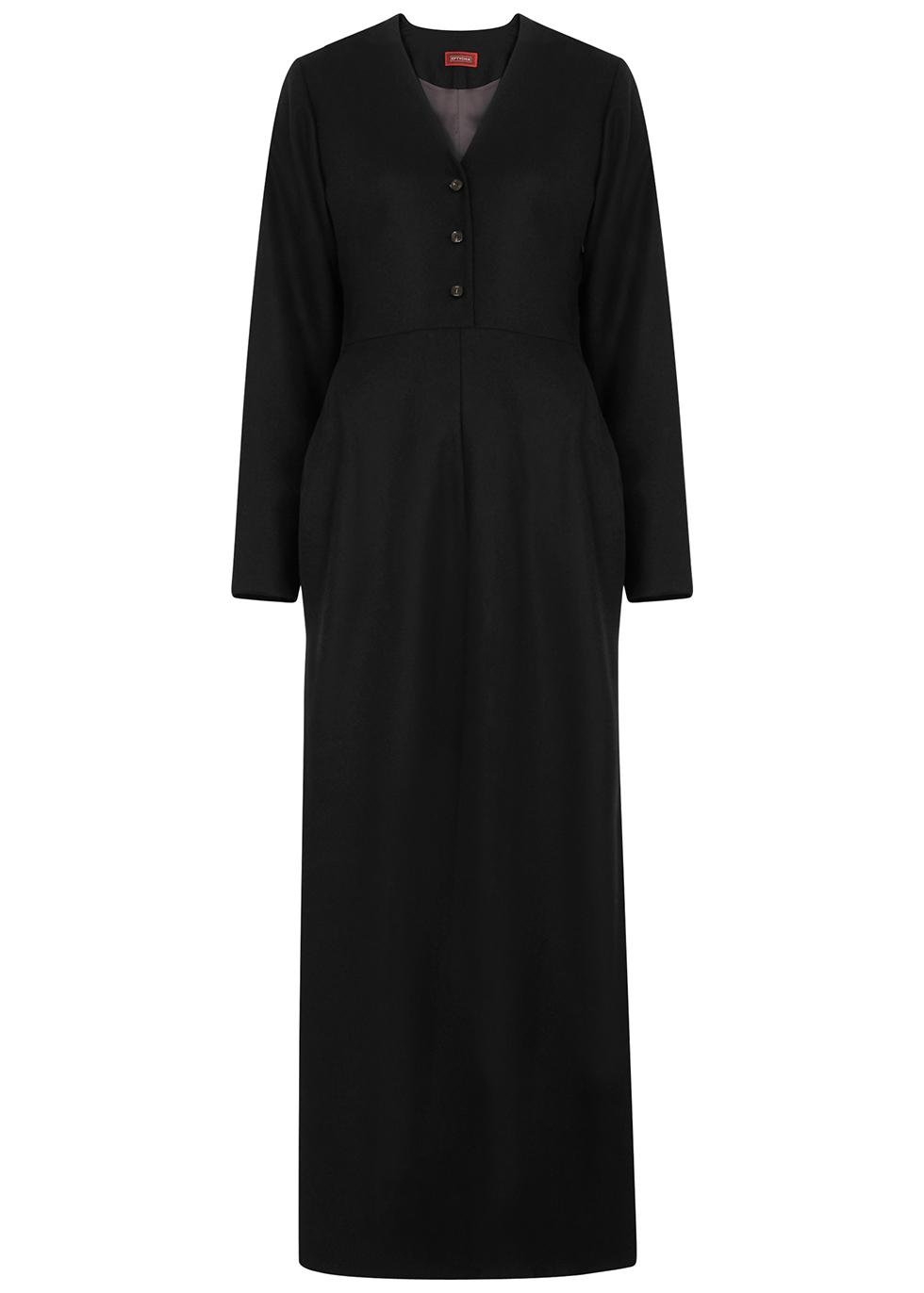 Black brushed wool-twill maxi dress