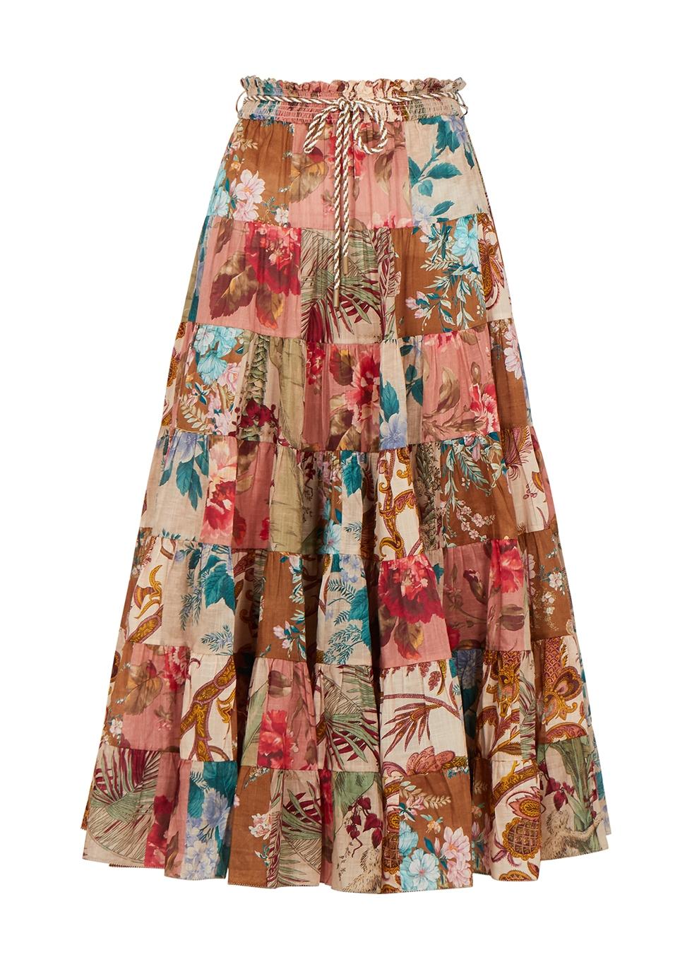 Cassia floral-print cotton midi skirt