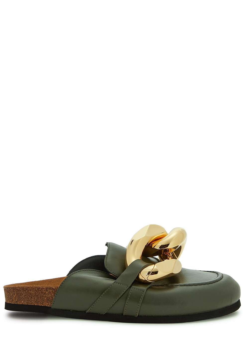 Army green chain-embellished leather mules