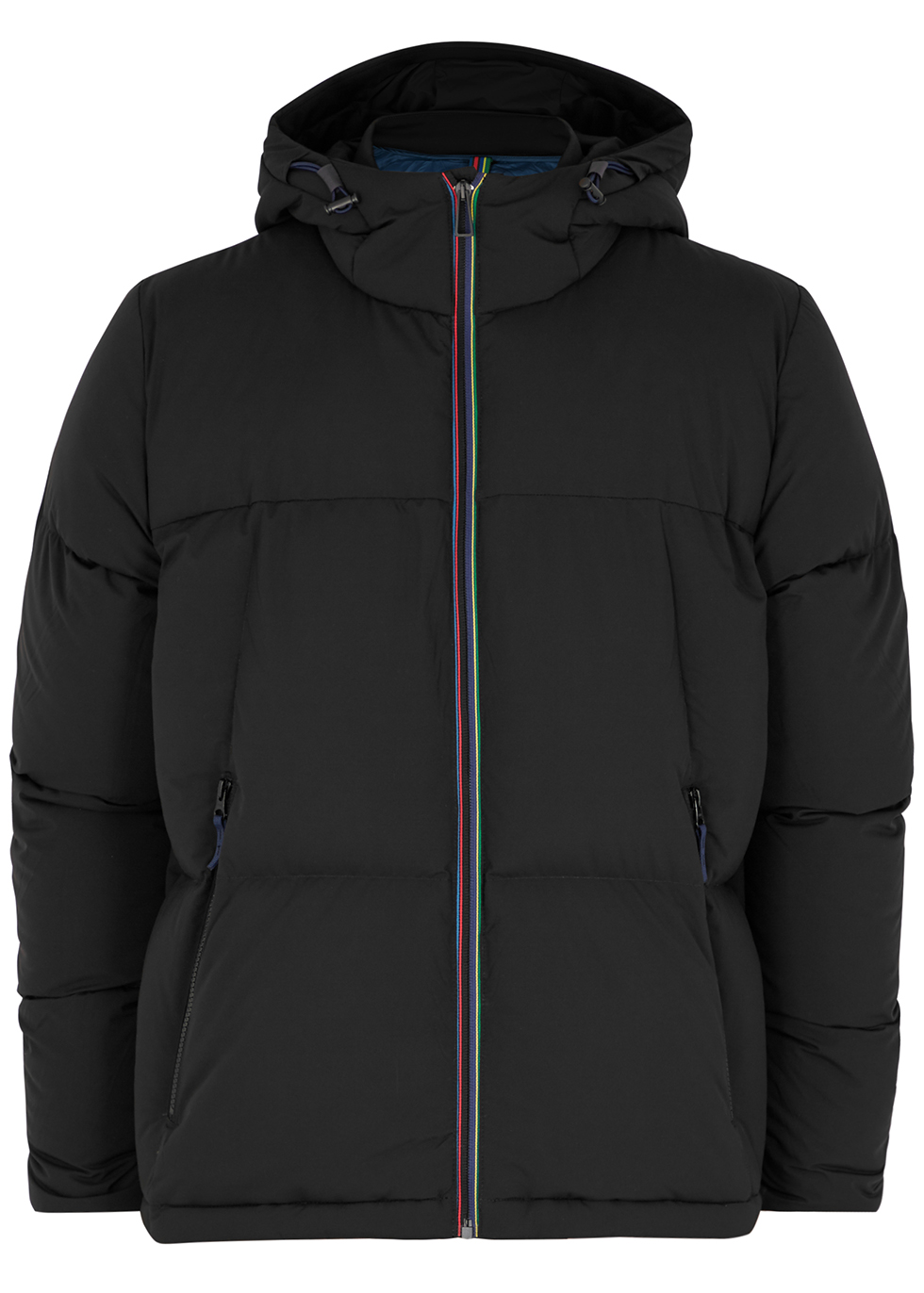 Black quilted hooded shell jacket