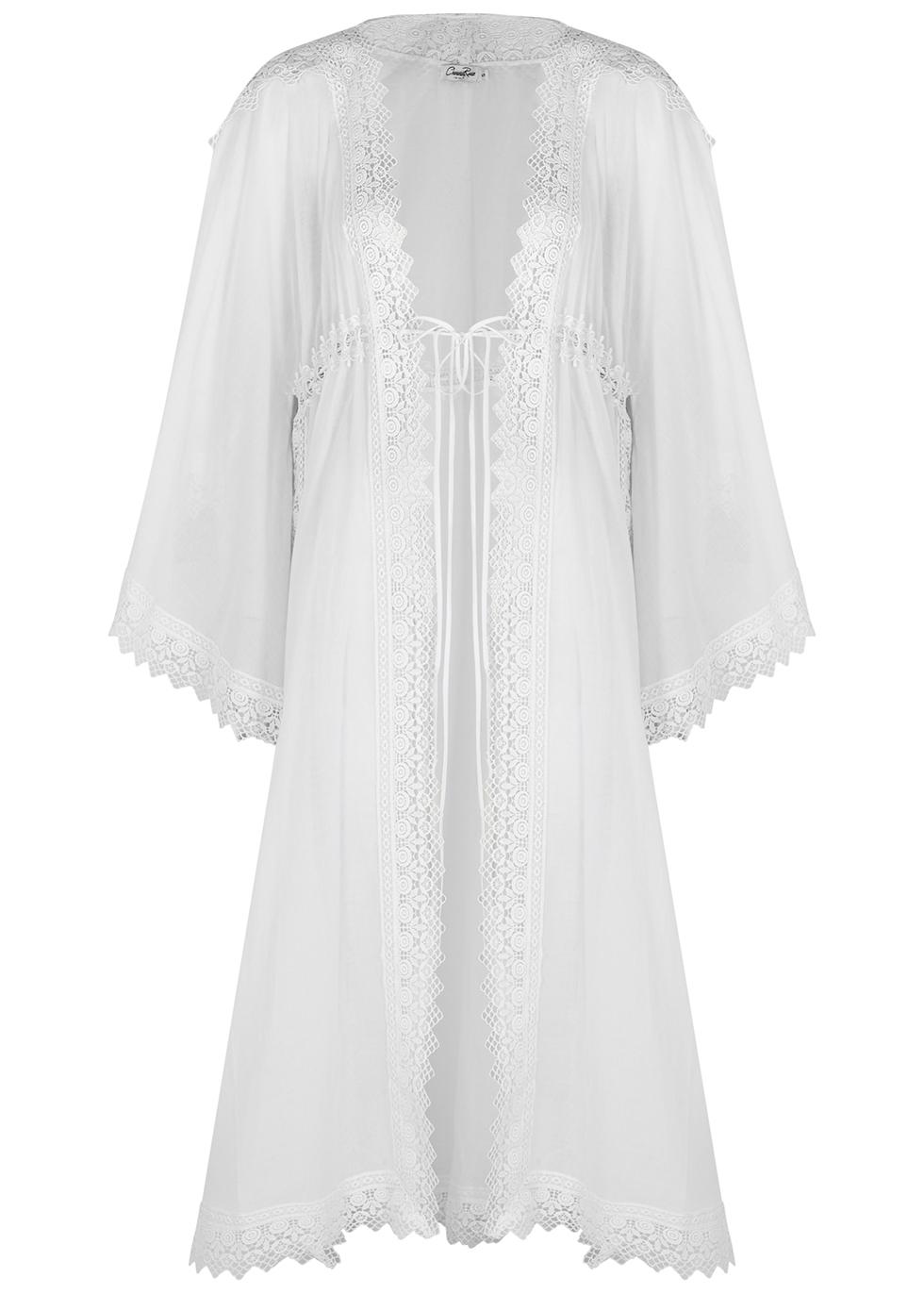 Angela white lace-trimmed cotton-blend kaftan