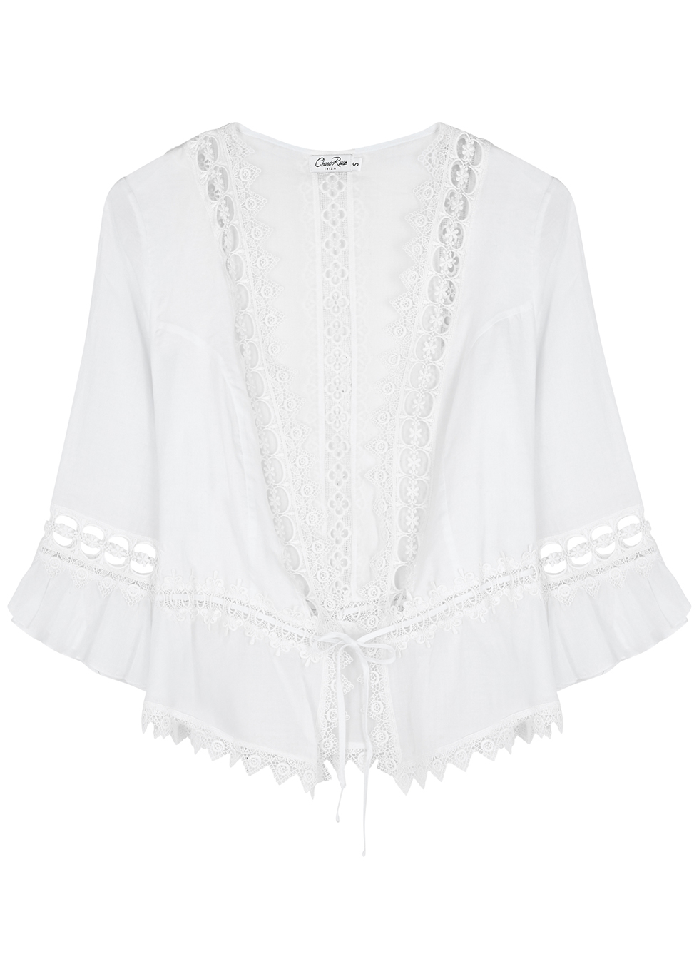 Edda white lace-trimmed cotton-blend top