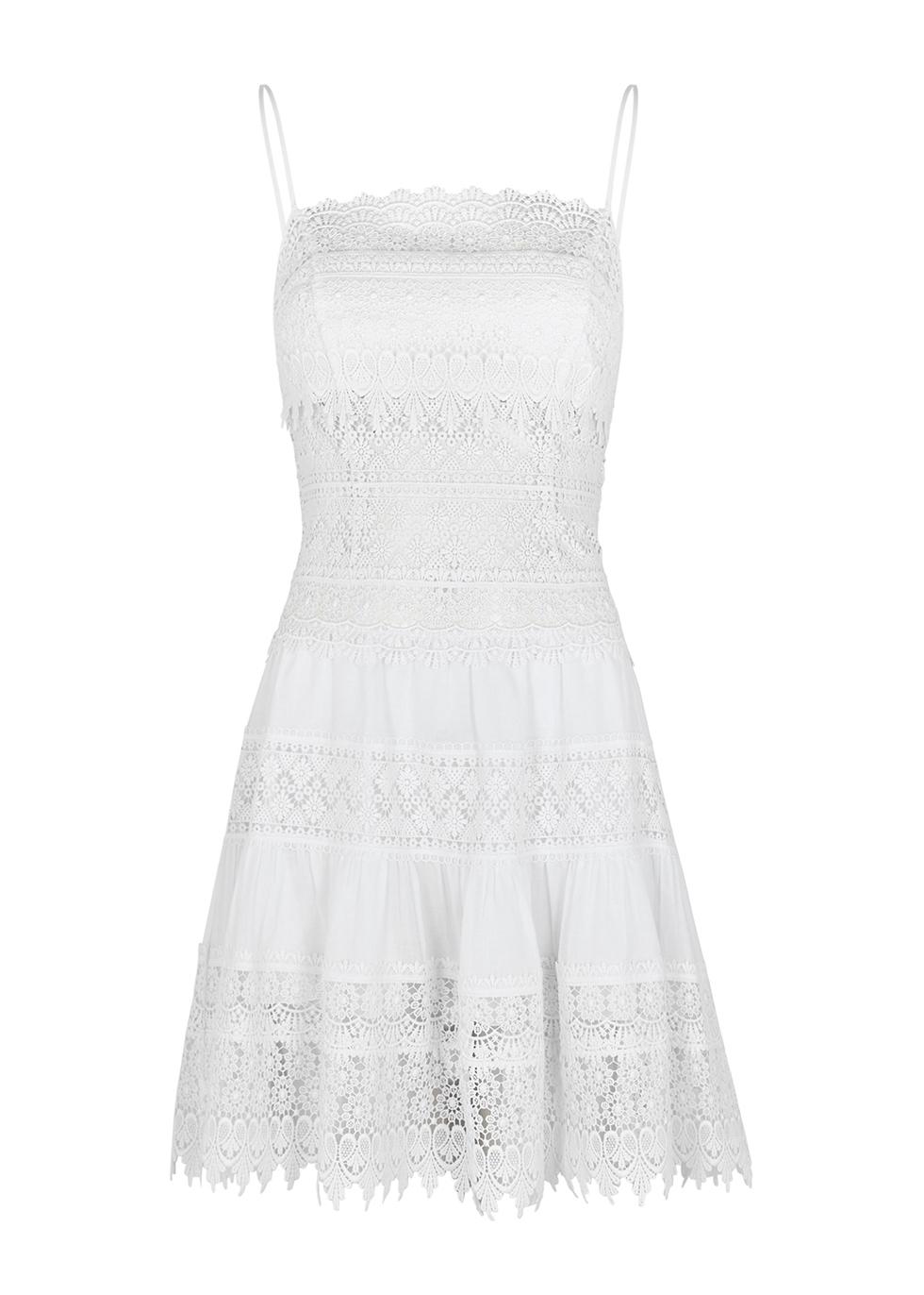 Joya white guipure lace mini dress