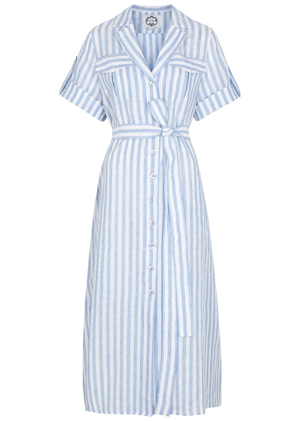 Blue striped linen shirt dress
