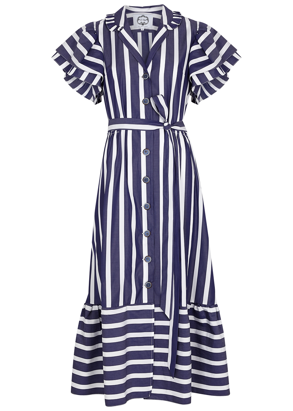 Navy striped cotton shirt dress