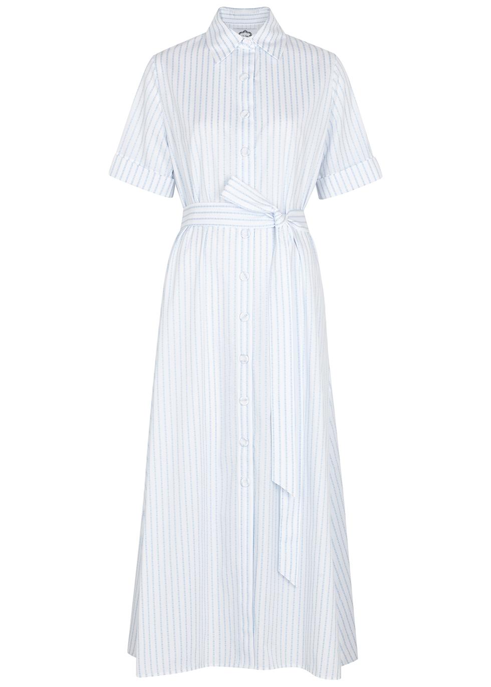 White stripe-jacquard cotton shirt dress