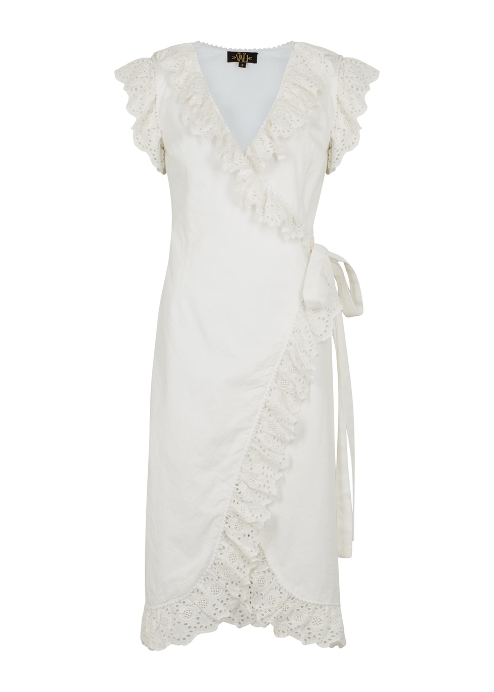 Cadaques ruffle-trimmed cotton wrap dress