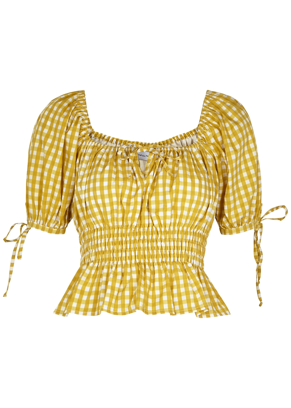 Edna yellow checked cotton top