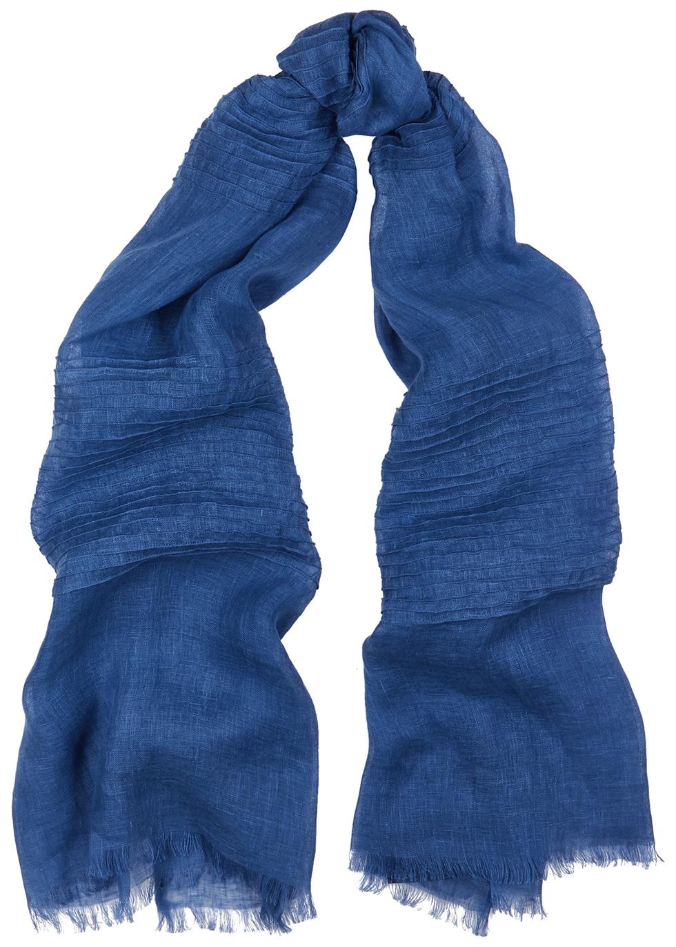 Blue linen gauze scarf