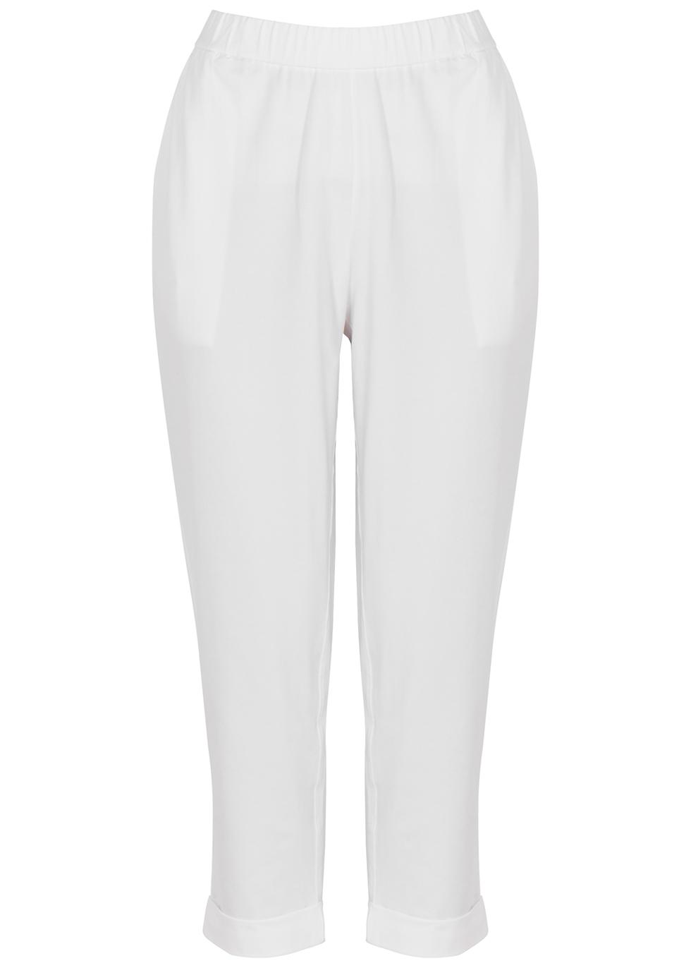 White slim-leg stretch-jersey trousers