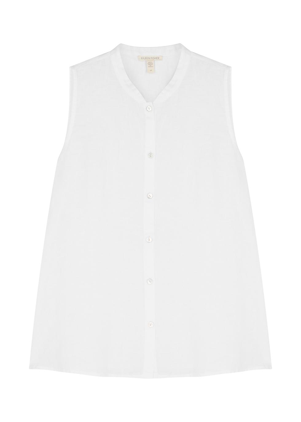 White linen sleeveless shirt