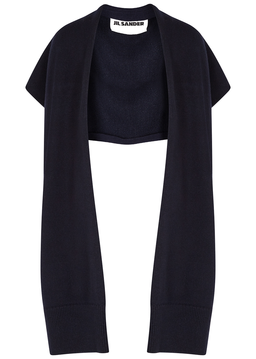 Navy knitted wool-blend scarf