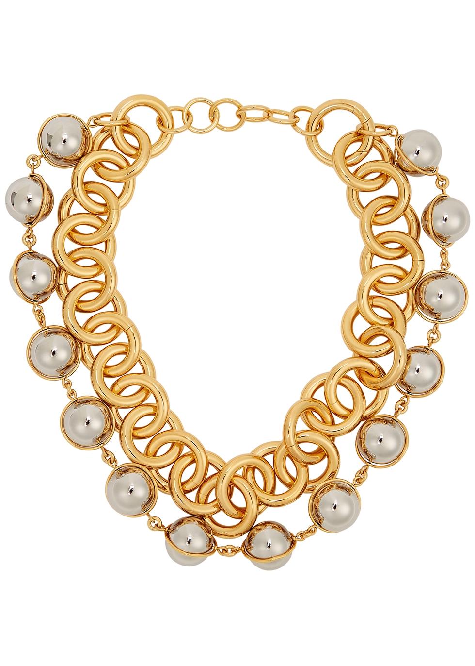 Pure gold-tone chain choker necklace