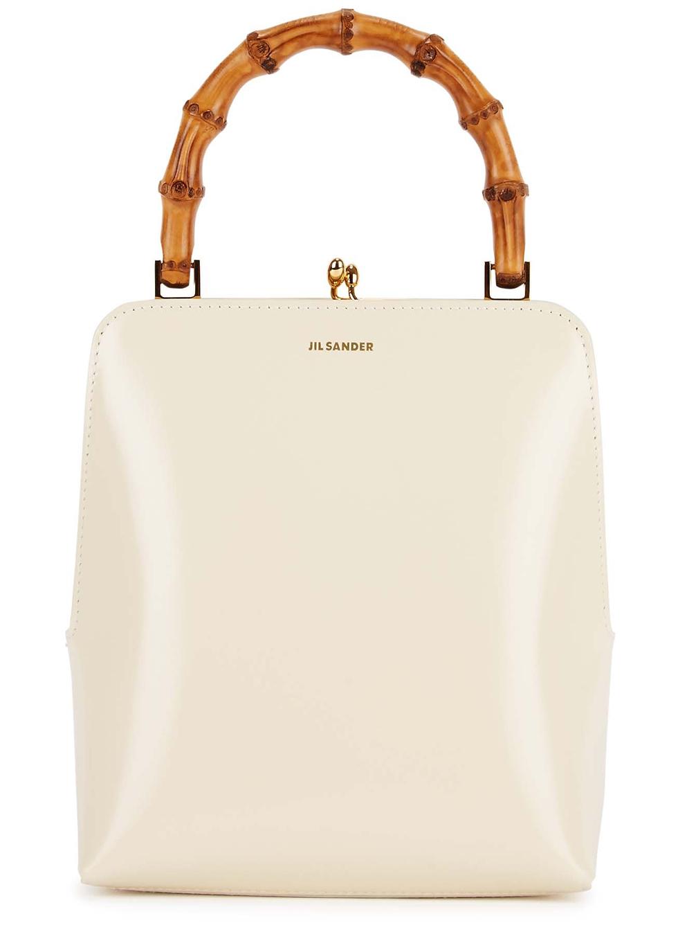 Goji cream leather top handle bag