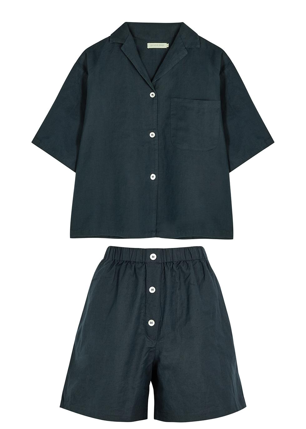 Camilla navy cotton-blend pyjama set
