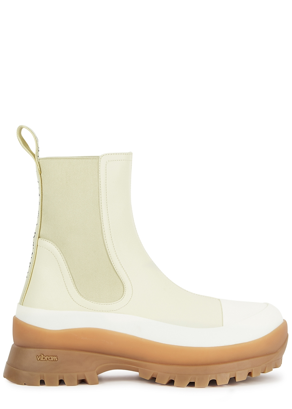 Trace 40 cream faux leather Chelsea boots