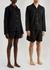 Unisex black flannel pyjama shorts - Tekla