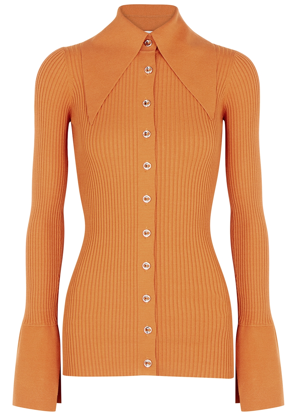 Liyu orange ribbed-knit cardigan