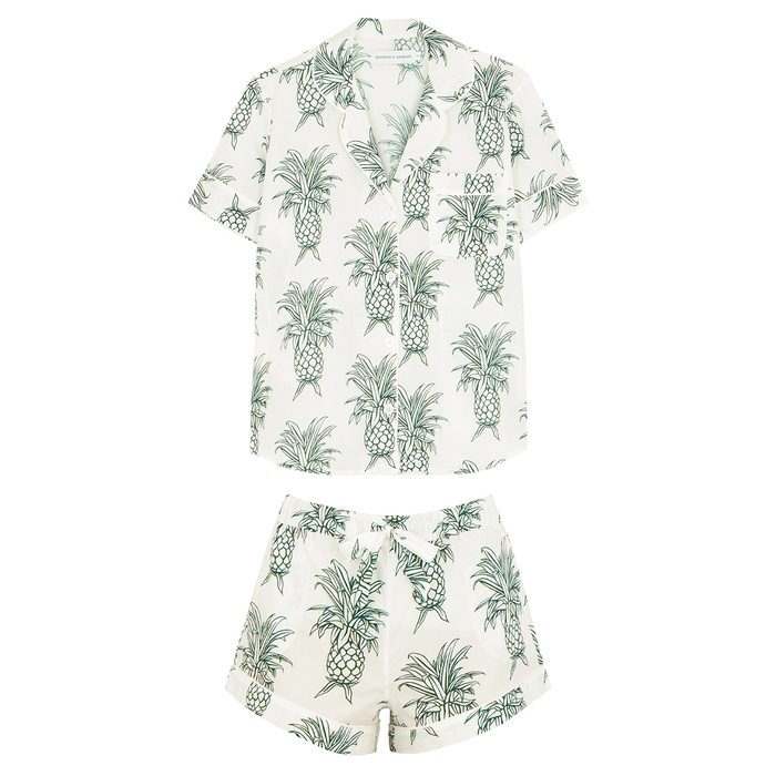 Desmond & Dempsey Howie Printed Cotton Pyjama Set In White And Green