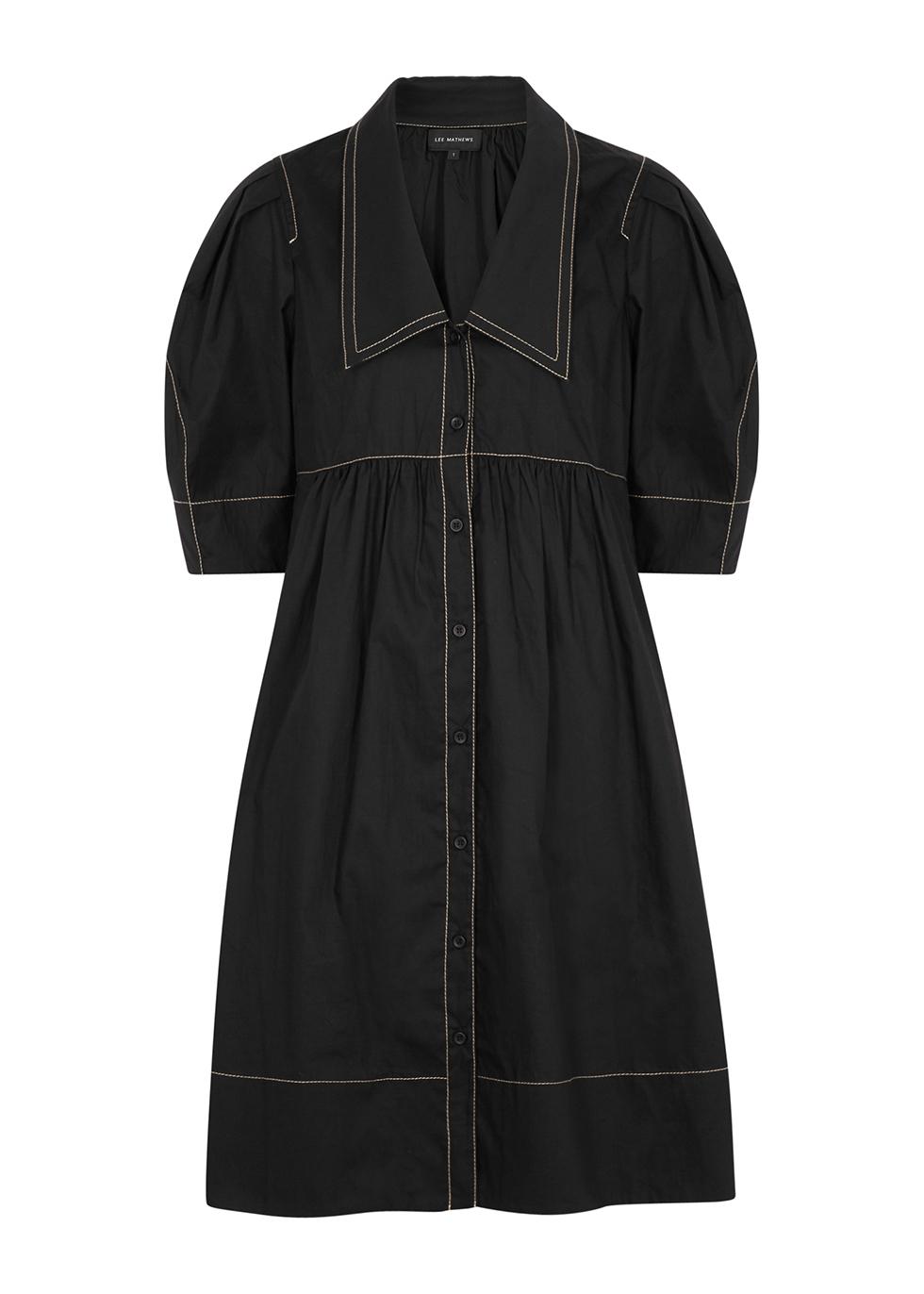 Nerissa black cotton shirt dress