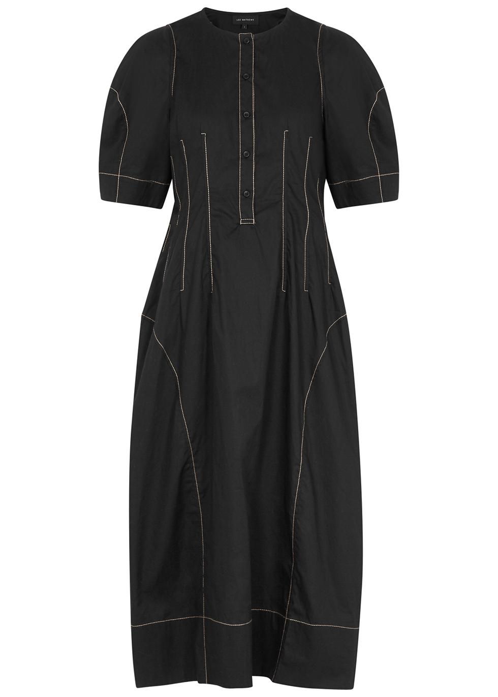 Nerissa black cotton midi dress