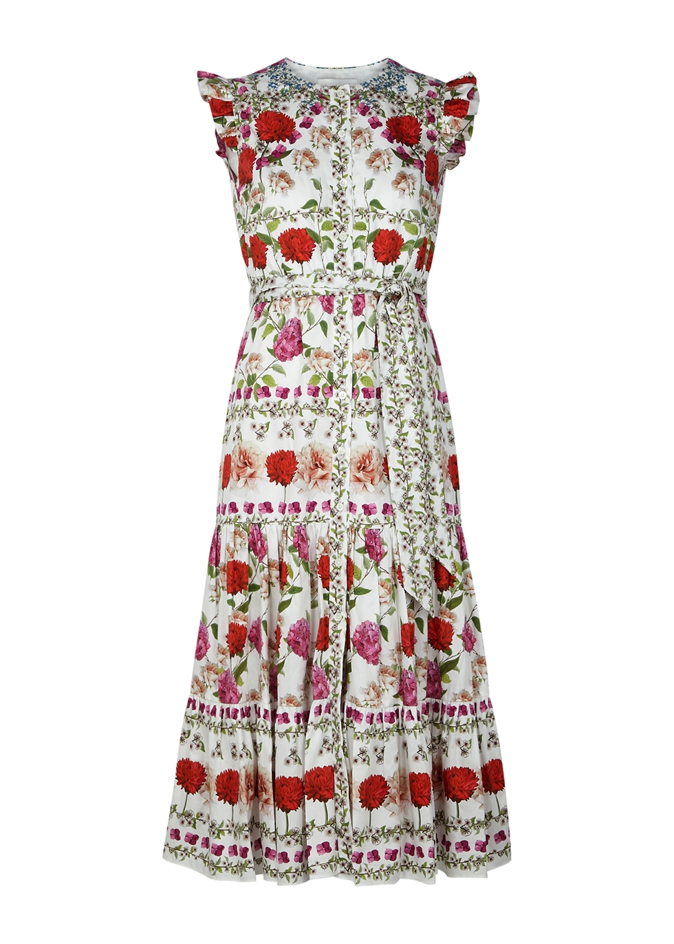Daisy floral-print cotton midi dress