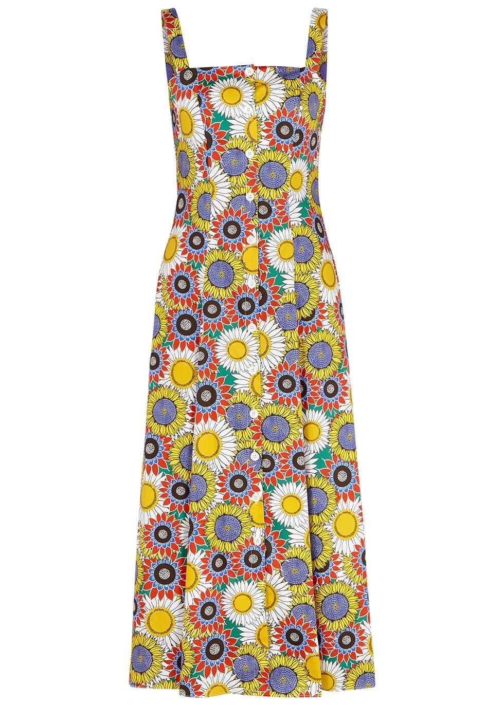 Tilda floral-print cotton midi dress