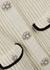 Ivory embellished ribbed-knit mini dress - Self-Portrait