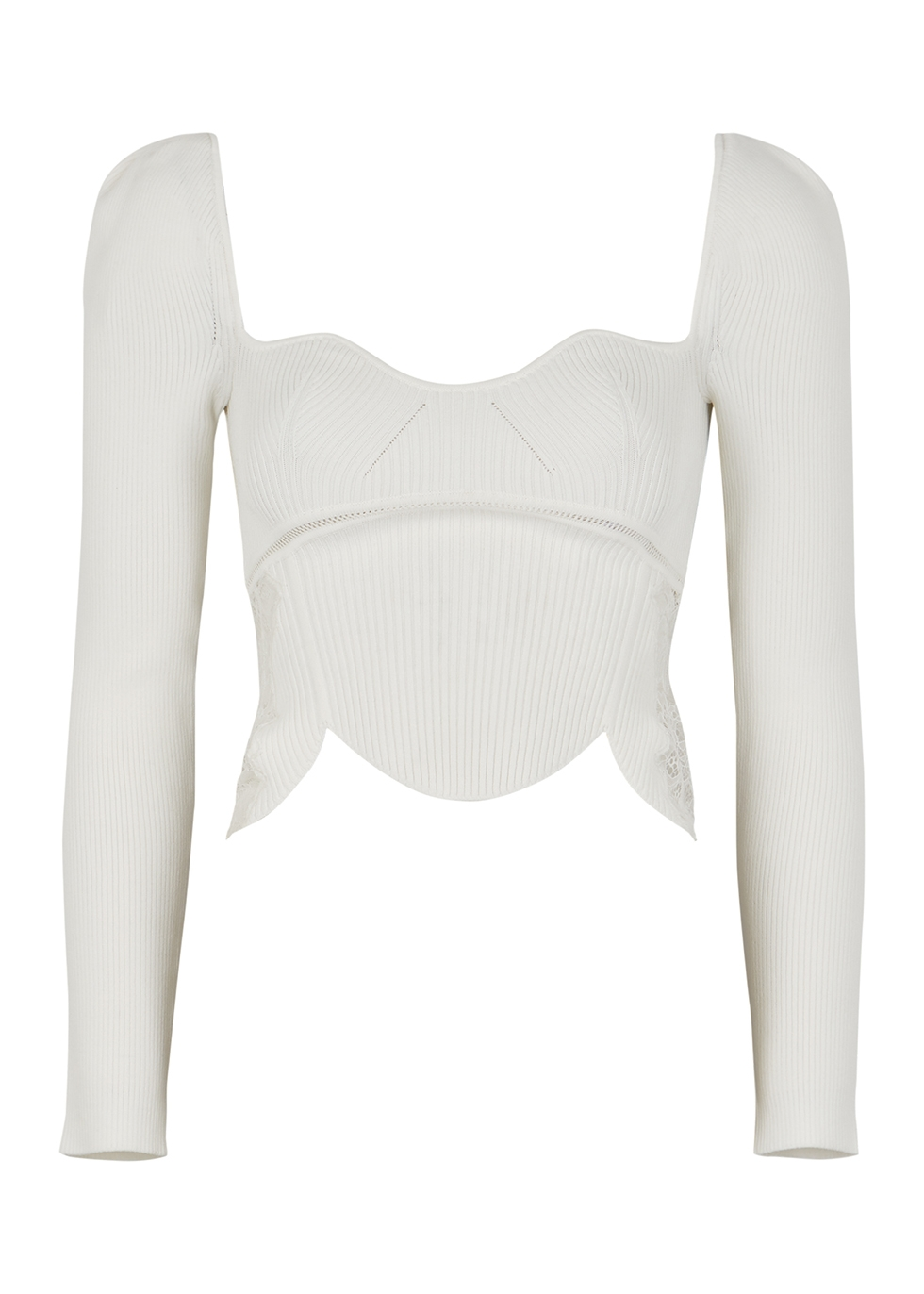 Ivory lace-panelled ribbed-knit top