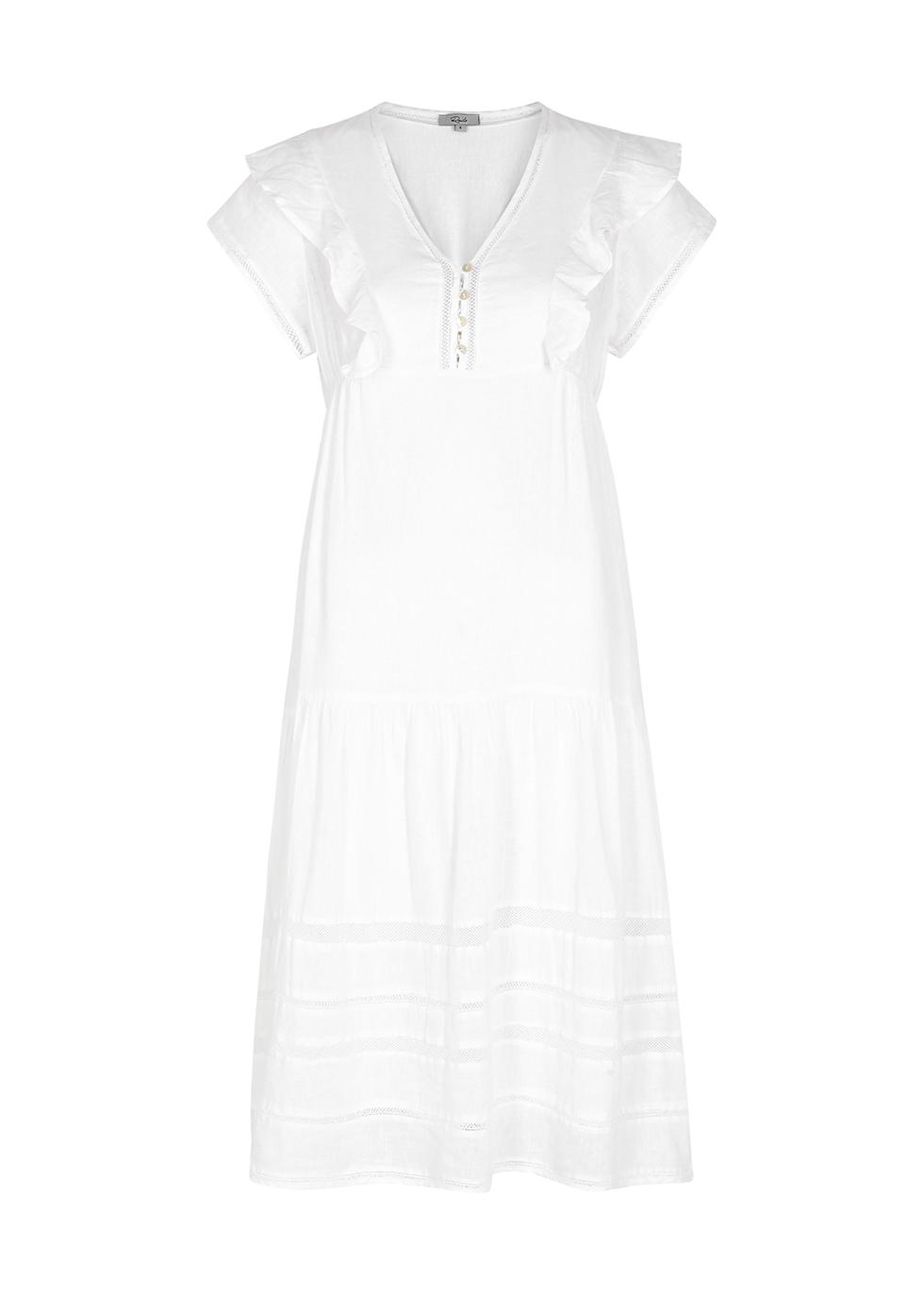 Eden white linen-blend midi dress
