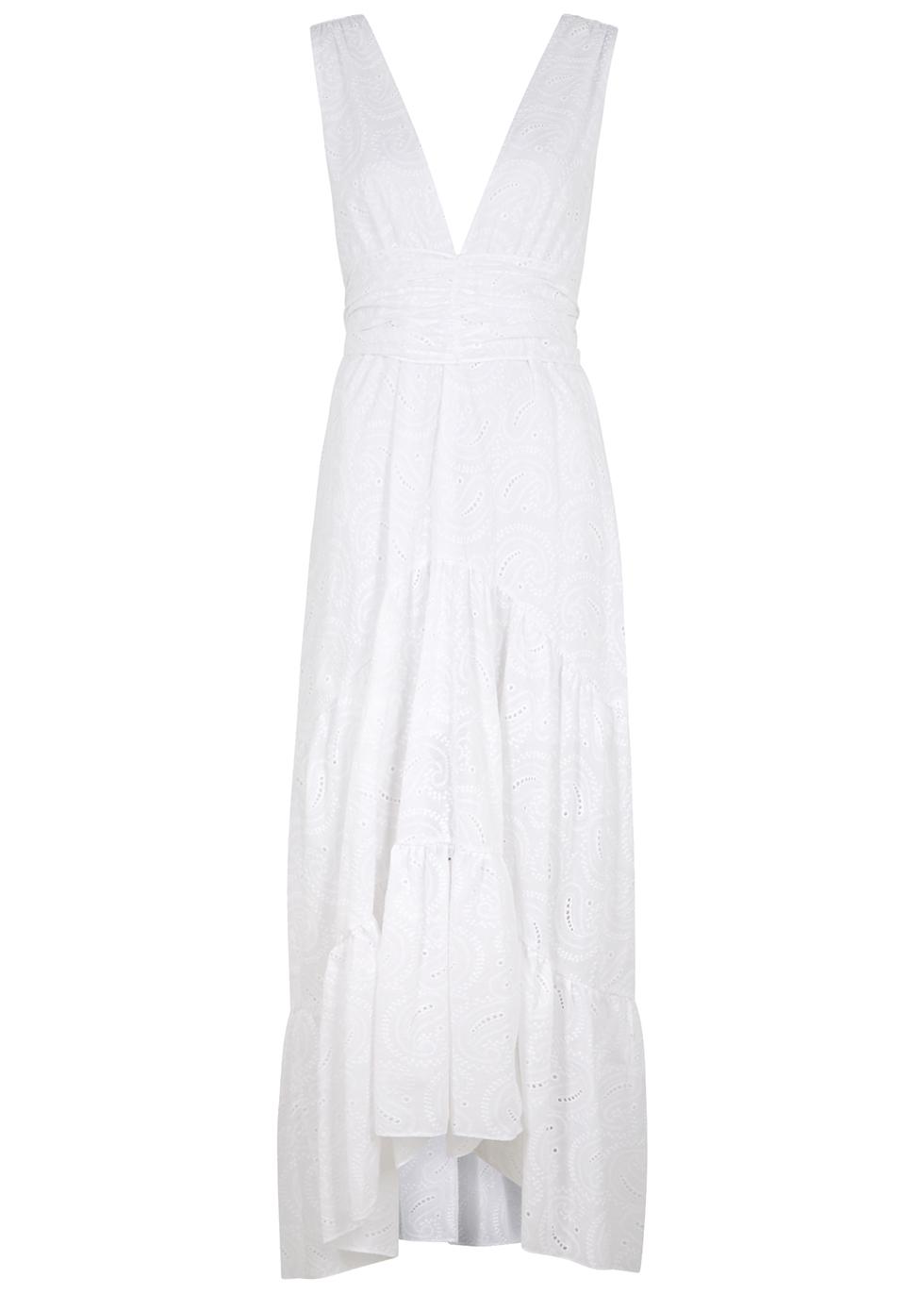 Ksenia white embroidered cotton maxi dress