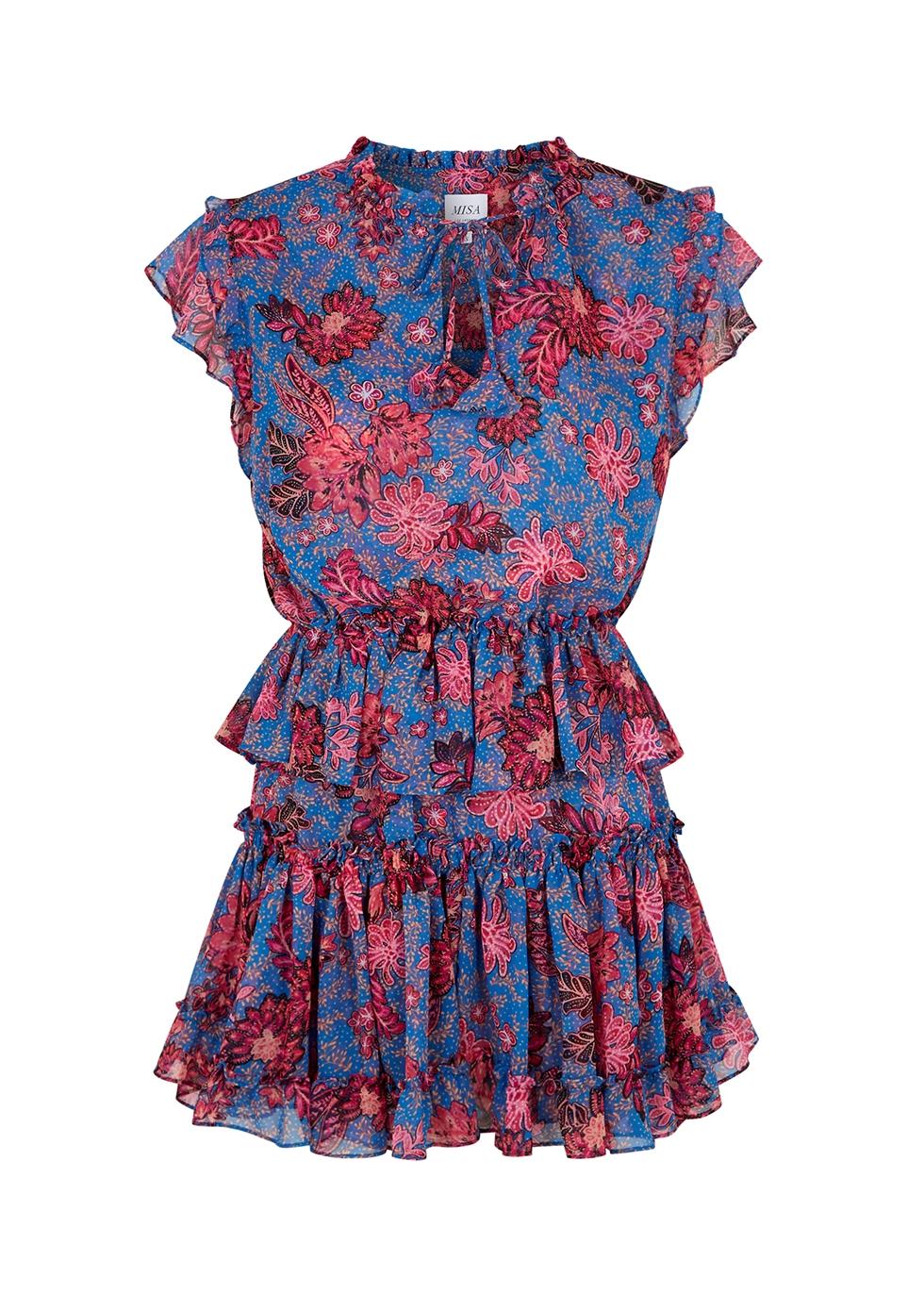 Lilian floral-print chiffon mini dress