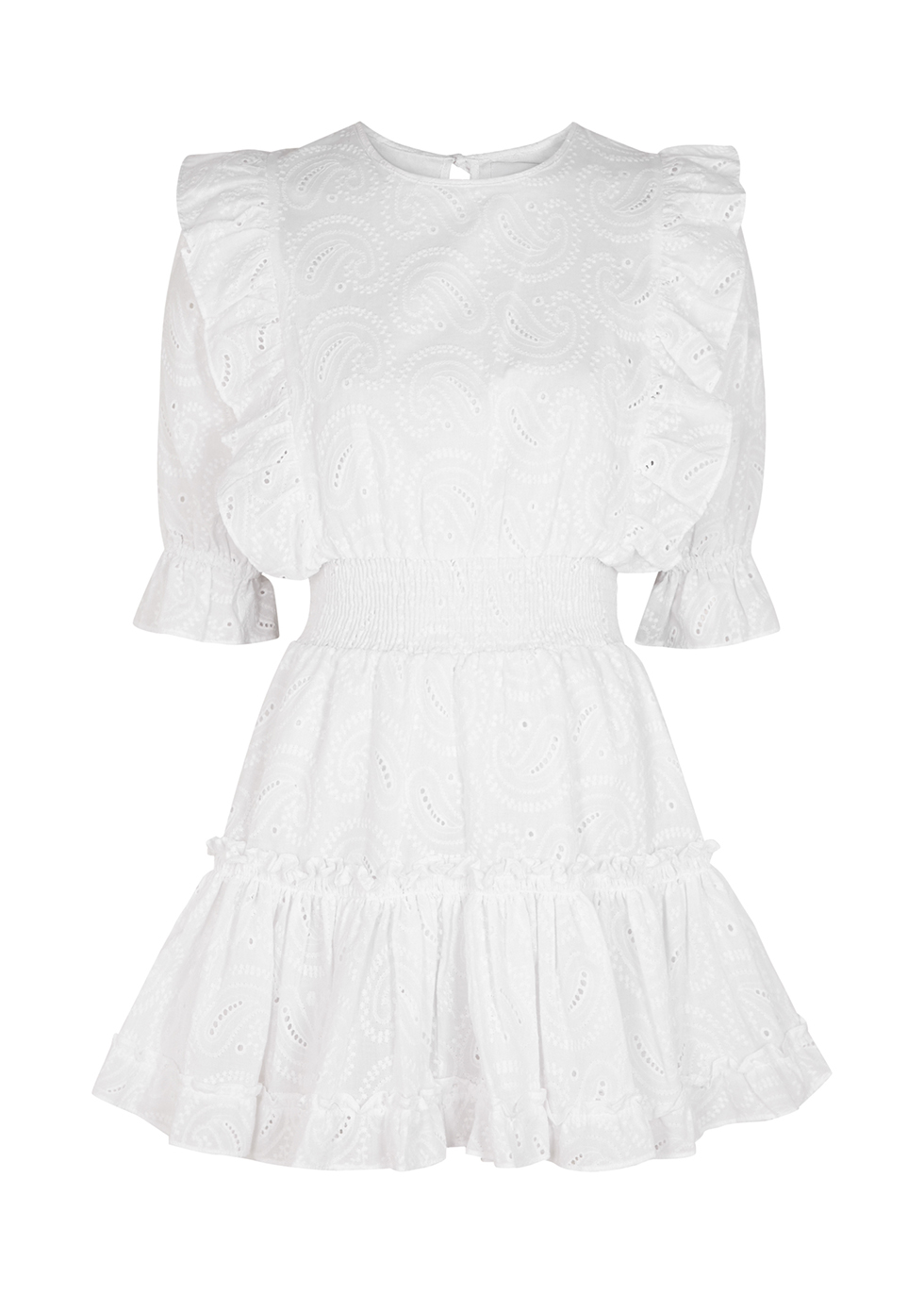 Doutzen white embroidered cotton mini dress
