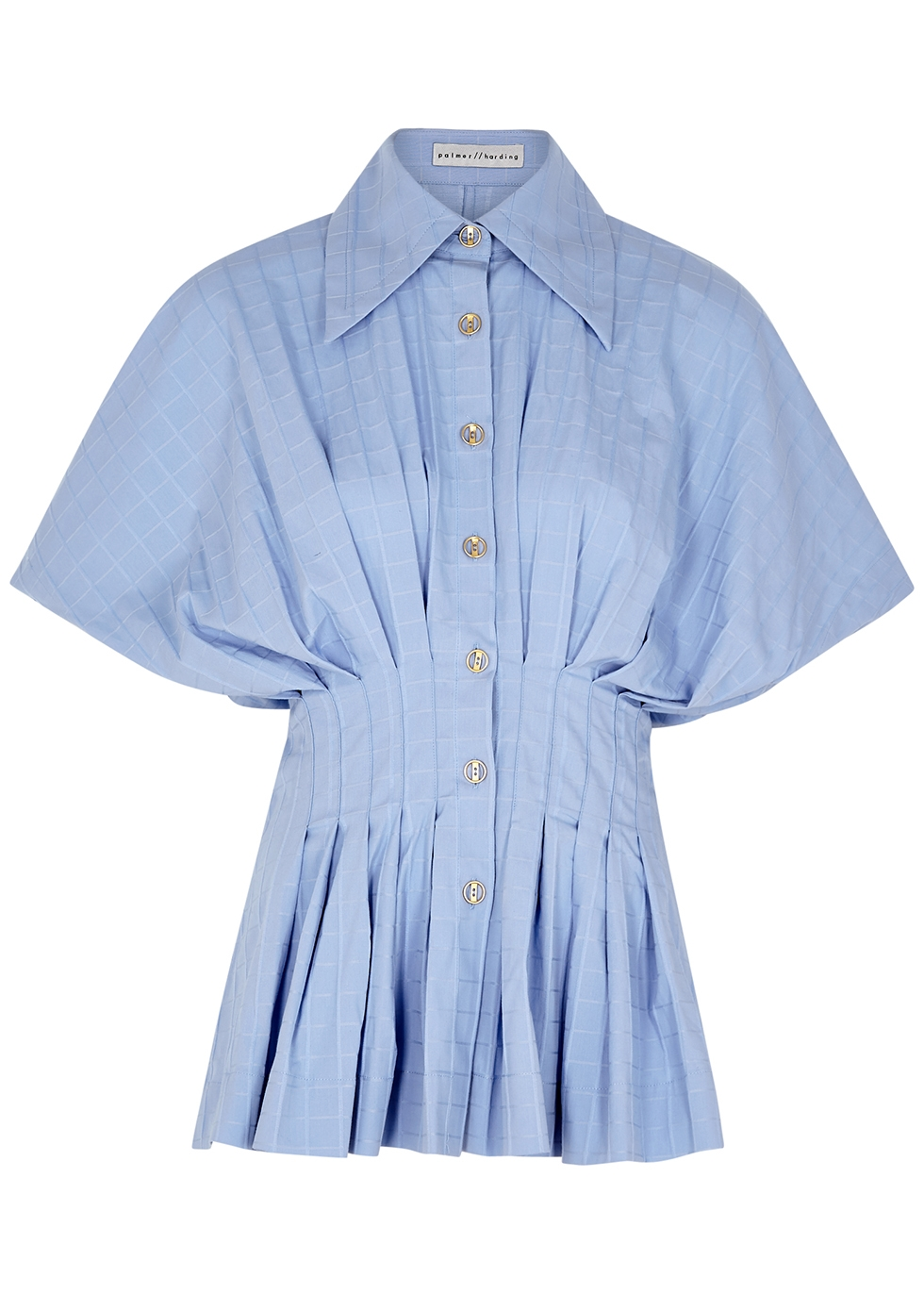 Courageous Heart blue checked stretch-cotton top