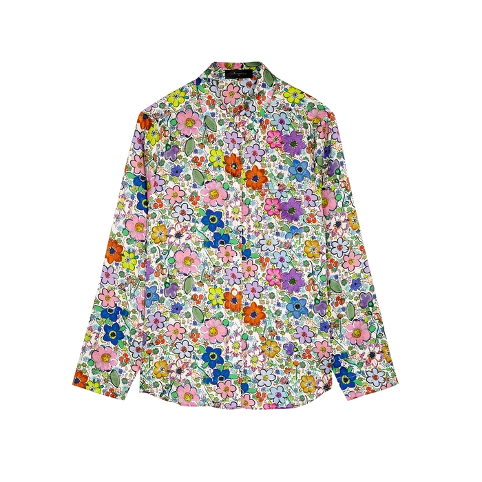 Jessica Russell Flint Paint By Flora Stretch-silk Pyjama Shirt In Multicoloured