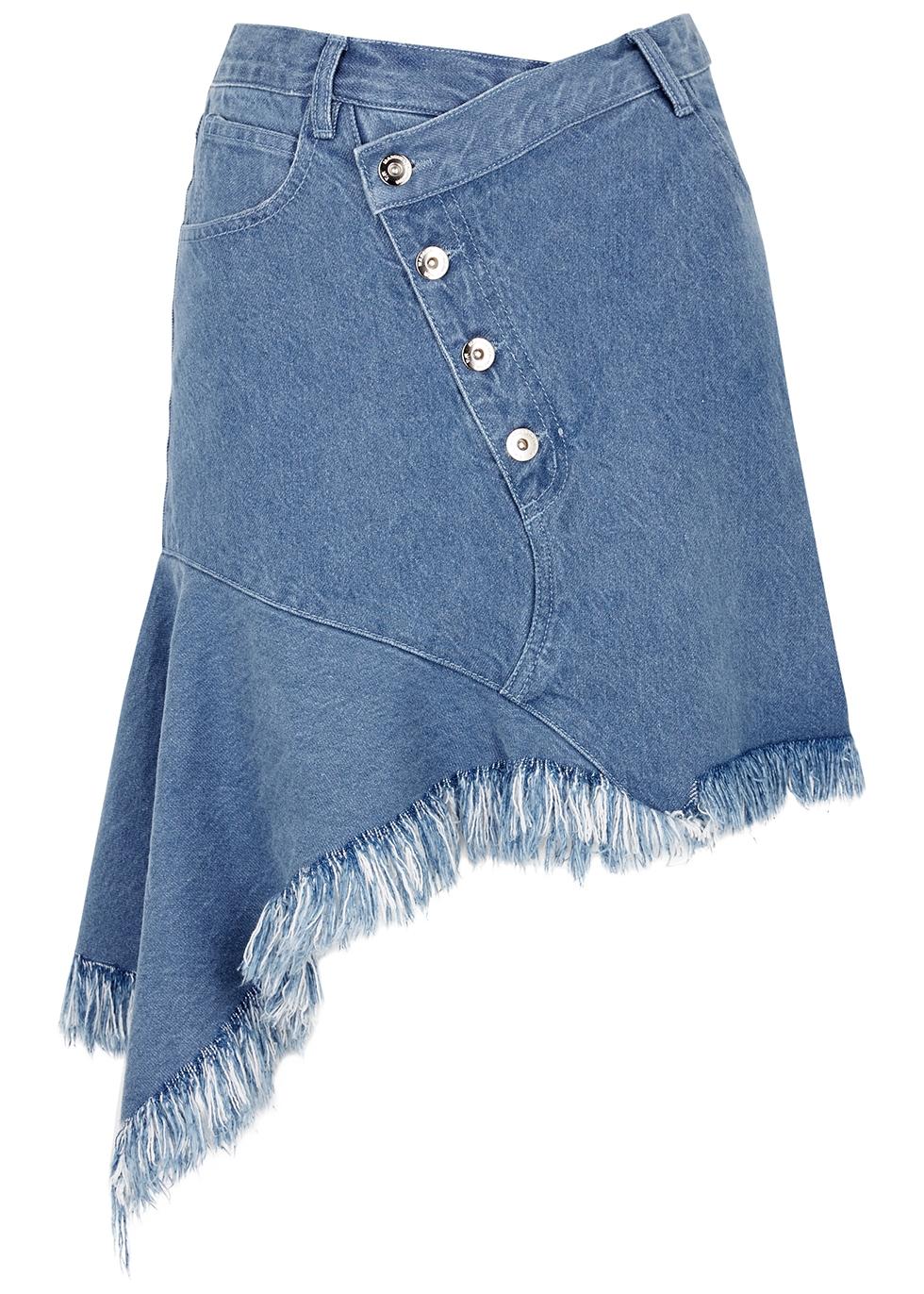 Blue asymmetric denim mini skirt